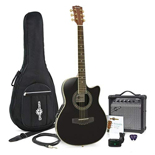 Set de Guitarra Electroacustica Roundback Negra y Ampli de 15W